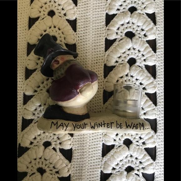 Vintage Snowman Christmas Holiday Candle Figure